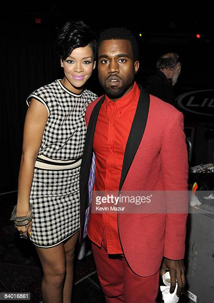 NEW YORK DECEMBER 12 Rihanna and Kanye West pose backstage during Z100's Jingle Ball 2008 Presented by HM at Madison Square Garden on December 12...