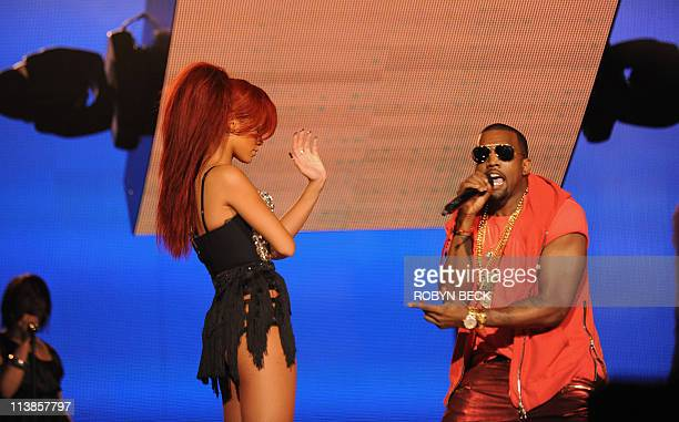 Rihanna and Kayne West perform in the half time show at the NBA AllStar Game February 20 part of NBA AllStar Weekend at Staples Center in Los Angeles...