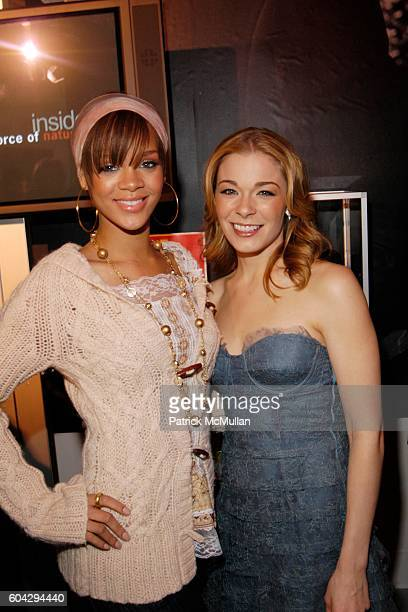 Rihanna and LeAnn Rimes attend JCPENNEY EXPERIENCE Opening Night Gala at One Times Square on March 2 2006 in New York City
