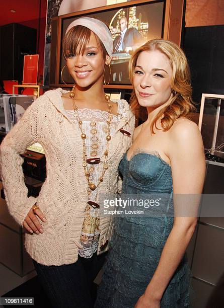 Rihanna and LeAnn Rimes during Gala Opening of The JCPenney Experience on Broadway at One Times Square in New York New York United States