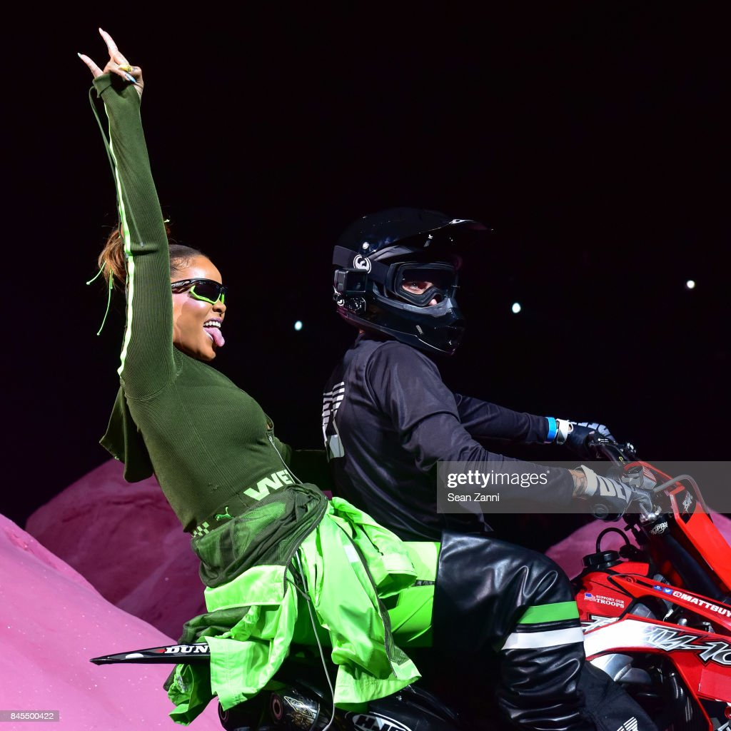 Rihanna and Matt Buyten on the runway at the Fenty Puma By Rihanna fashion show during New York fashion week at Park Avenue Armory on September 10, 2017 in New York City.