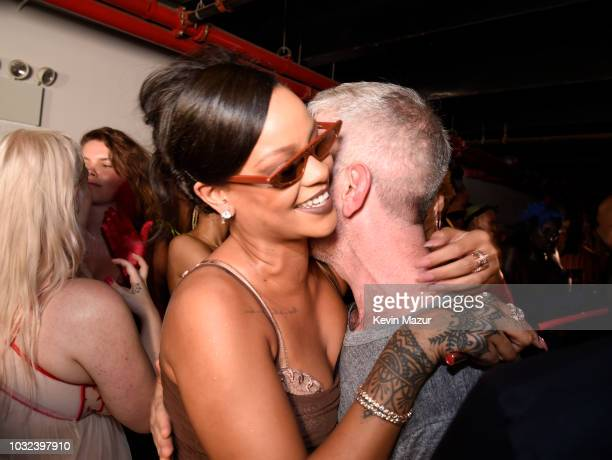 Rihanna and Mel Ottenberg pose backstage for the Savage X Fenty Fall/Winter 2018 fashion show during NYFW at the Brooklyn Navy Yard on September 12...