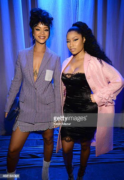 Rihanna and Nicki Minaj attend the Tidal launch event #TIDALforALL at Skylight at Moynihan Station on March 30, 2015 in New York City.