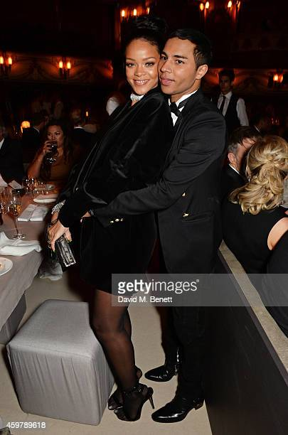 Rihanna and Olivier Rousteing attend a drinks reception at the British Fashion Awards at the London Coliseum on December 1 2014 in London England