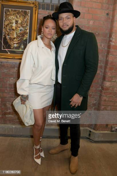 Rihanna and Rorrey Fenty attend the Legado x Faberge x Rome de Bellegarde VIP party at The Vinyl Factory Gallery on October 10, 2019 in London,...