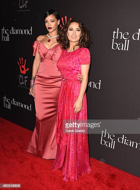 Rihanna and Salma Hayek arrives at the Rihanna's First Annual Diamond Ball at The Vineyard on December 11 2014 in Beverly Hills California