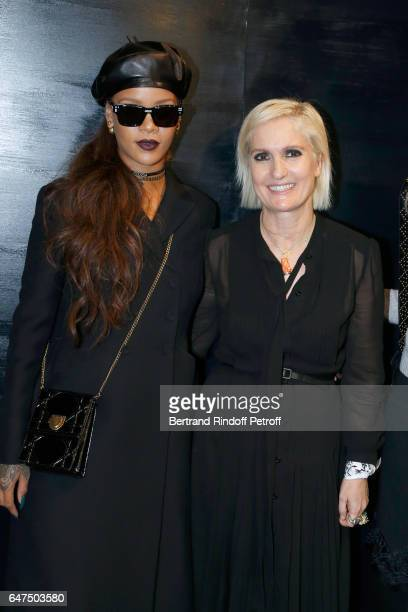 Rihanna and Stylist Maria Grazia Chiuri pose backstage after the Christian Dior show as part of the Paris Fashion Week Womenswear Fall/Winter...