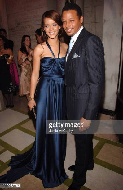 Rihanna and Terrence Howard during 2006 CFDA Awards Red Carpet at New York Public Library in New York City New York United States