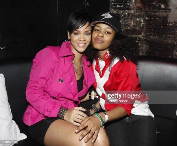 Rihanna and Teyana Taylor attend Chris Brown's 19th Birthday Party May 13 2008 at Rebel NYC in New York
