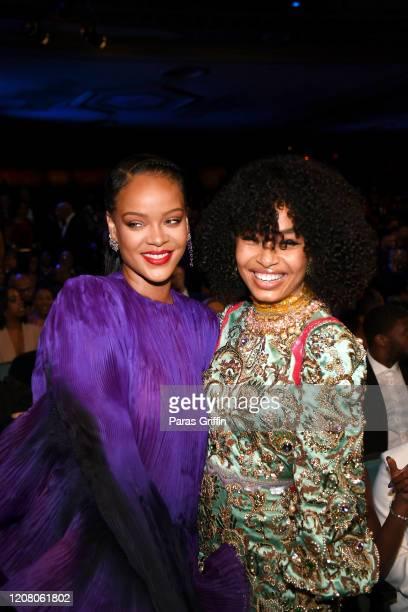 Rihanna and Yara Shahidi attend the 51st NAACP Image Awards Presented by BET at Pasadena Civic Auditorium on February 22 2020 in Pasadena California