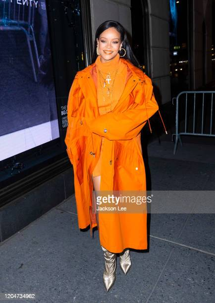 Rihanna arrives at Bergdorf Goodman to introduce her Fenty Collection on February 07, 2020 in New York City.