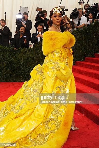 """Rihanna arrives at """"China: Through The Looking Glass"""" Costume Institute Benefit Gala at the Metropolitan Museum of Art on May 4, 2015 in New York..."""