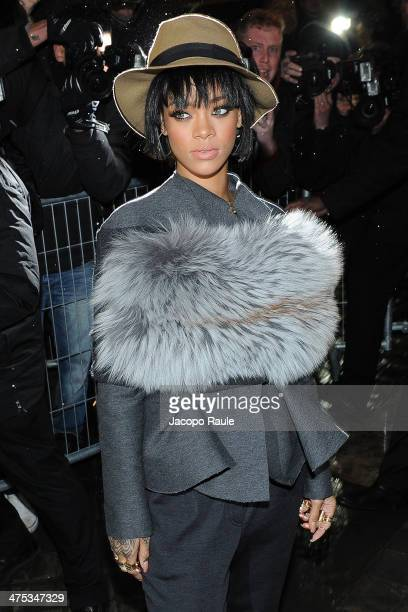 Rihanna arrives at Lanvin show as part of the Paris Fashion Week Womenswear Fall/Winter 2014-2015 on February 27, 2014 in Paris, France.