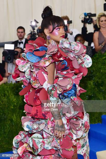 Rihanna arrives at 'Rei Kawakubo/Comme des Garcons Art Of The InBetween' Costume Institute Gala at The Metropolitan Museum on May 1 2017 in New York...