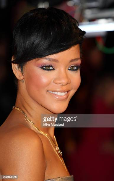Rihanna arrives at the 2008 Brit Awards at Earls Court on February 20 2008 in London England
