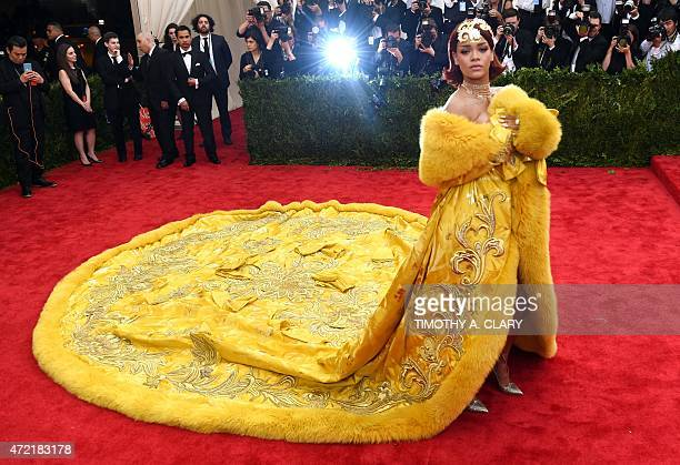 Rihanna arrives at the 2015 Metropolitan Museum of Art's Costume Institute Gala benefit in honor of the museums latest exhibit China: Through the...