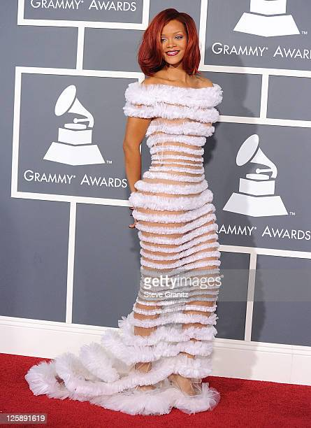 Rihanna arrives at The 53rd Annual GRAMMY Awards at Staples Center on February 13 2011 in Los Angeles California