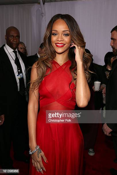 Rihanna arrives at the 55th Annual GRAMMY Awards on February 10 2013 in Los Angeles California