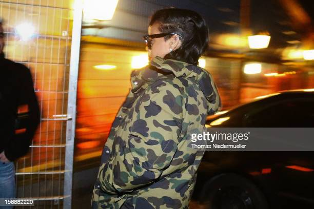 Rihanna arrives at the after party for Chris Brown's concert in Stuttgart at Disco La Boom on November 23 2012 in Heilbronn BadenWuerttemberg