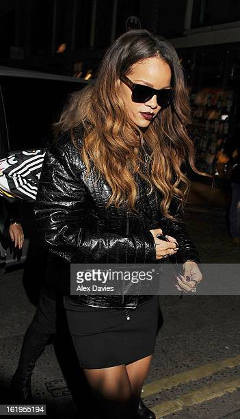 Rihanna arrives at the Box club in soho after her River Island fashion show on February 16 2013 in London England