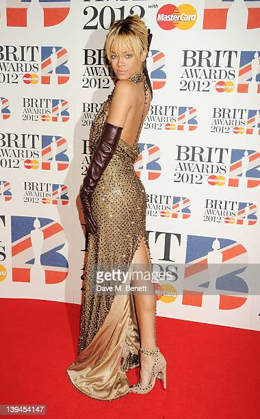 Rihanna arrives at the BRIT Awards 2012 at O2 Arena on February 21 2012 in London England