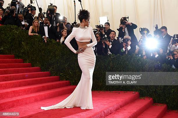Rihanna arrives at the Costume Institute Benefit at The Metropolitan Museum of Art May 5 2014 in New York AFP PHOTO/Timothy A CLARY