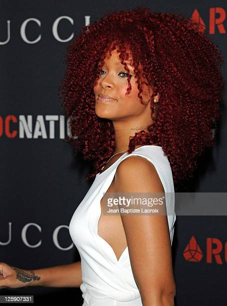 Rihanna arrives at the Gucci and RocNation PreGRAMMY brunch held at Soho House on February 12 2011 in West Hollywood California
