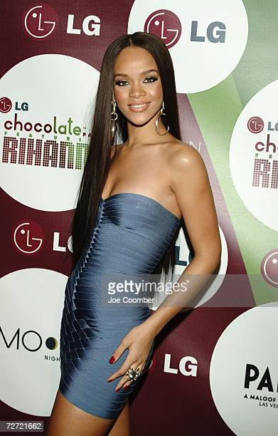 Rihanna arrives at the LG Chocolate Party at Moon at the Palms Resort Casino on December 4 2006 in Las Vegas Nevada