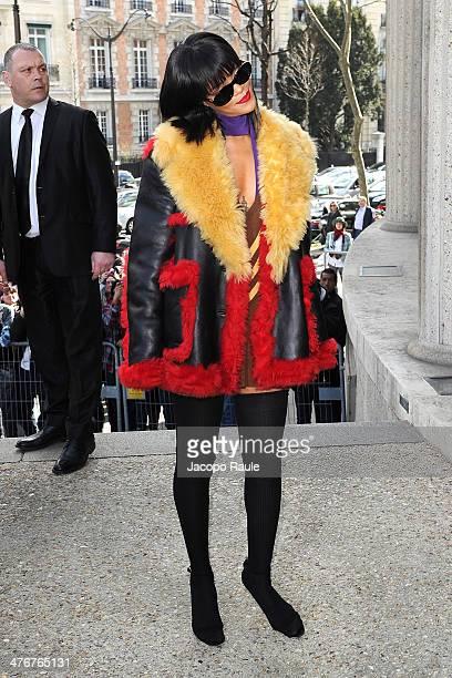 Rihanna arrives at the Miu Miu show as part of the Paris Fashion Week Womenswear Fall/Winter 20142015 on March 5 2014 in Paris France