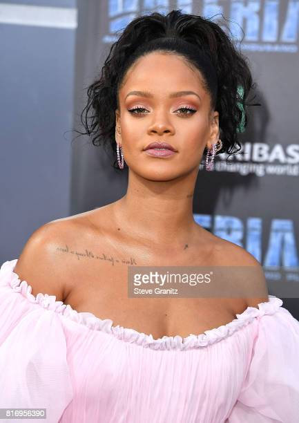 Rihanna arrives at the Premiere Of EuropaCorp And STX Entertainment's Valerian And The City Of A Thousand Planets at TCL Chinese Theatre on July 17...