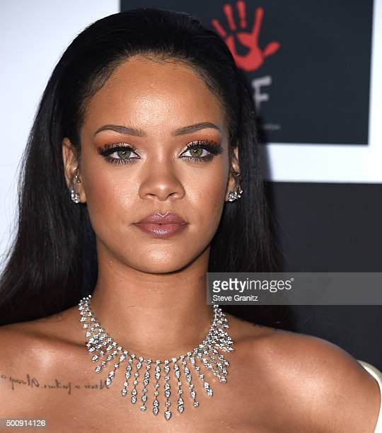 Rihanna arrives at the Rihanna and The Clara Lionel Foundation Host 2nd Annual Diamond Ball at The Barker Hanger on December 10 2015 in Santa Monica...