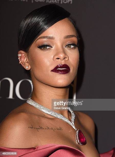 Rihanna arrives at the Rihanna's First Annual Diamond Ball at The Vineyard on December 11 2014 in Beverly Hills California