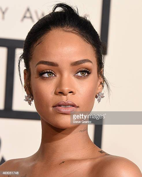 Rihanna arrives at the The 57th Annual GRAMMY Awards on February 8 2015 in Los Angeles California