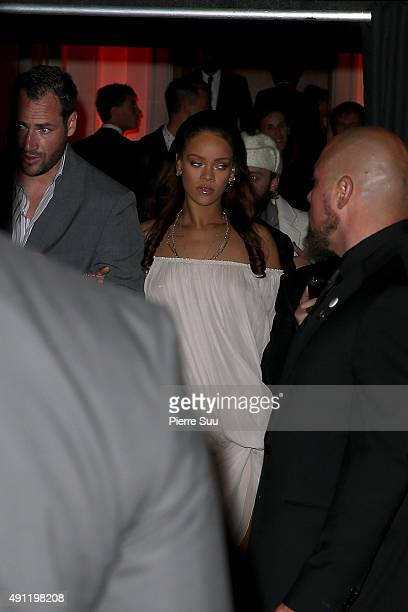 Rihanna arrives at Vogue 95th Anniversary Party as part of the Paris Fashion Week Womenswear Spring/Summer 2016 on October 3 2015 in Paris France