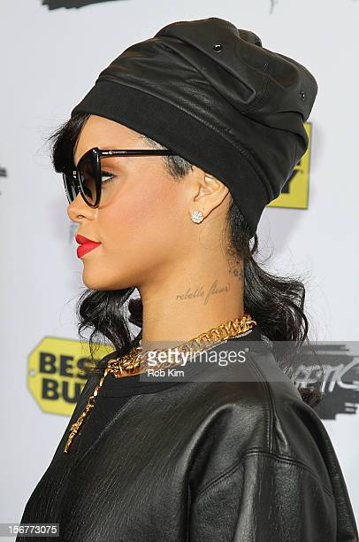 Rihanna arrives for her Unapologetic record release fan meet and greet at Best Buy Theater on November 20 2012 in New York City