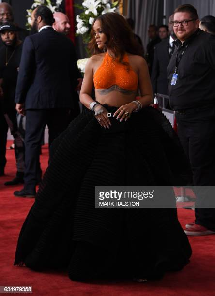 Rihanna arrives for the 59th Grammy Awards on February 12 in Los Angeles California / AFP / Mark RALSTON