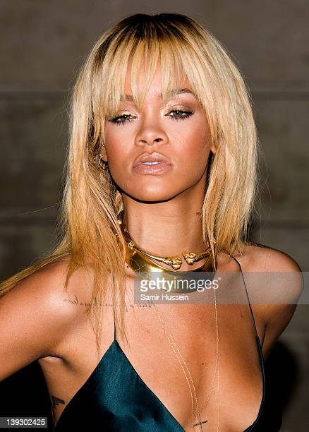 Rihanna arrives for the Stella McCartney Special Presentation at 13 North Audley Street during London Fashion Week Autumn/Winter 2012 on February 18...