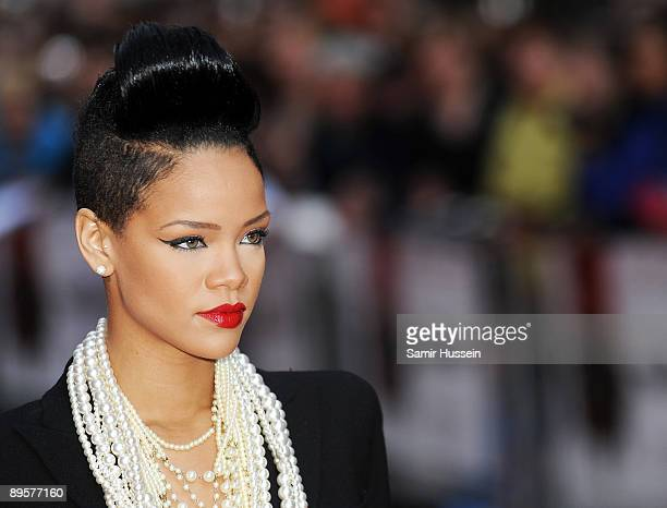 Rihanna arrives for the UK film premiere of 'Inglourious Basterds' at the Odeon Leicester Square on July 23 2009 in London England