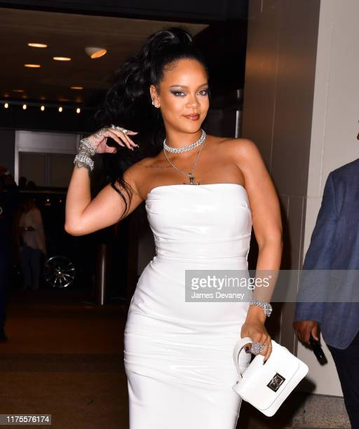 Rihanna arrives to the PlayStation Theater in Times Square on October 13, 2019 in New York City.