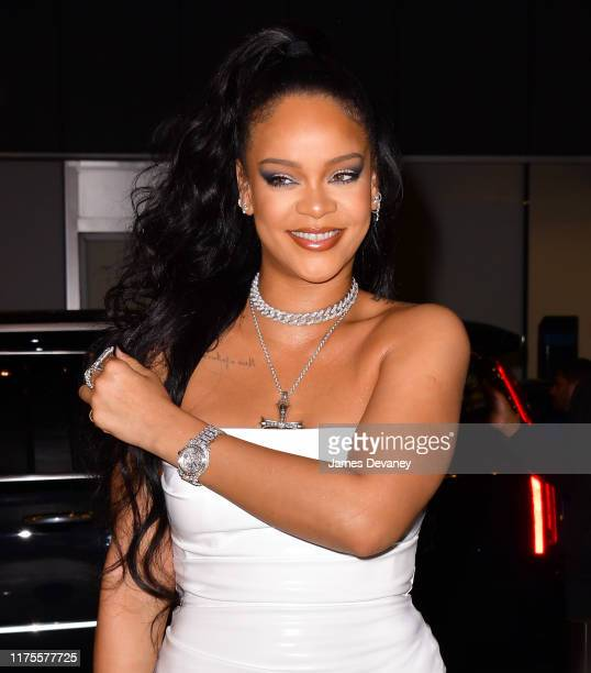 Rihanna arrives to the PlayStation Theater in Times Square on October 13 2019 in New York City