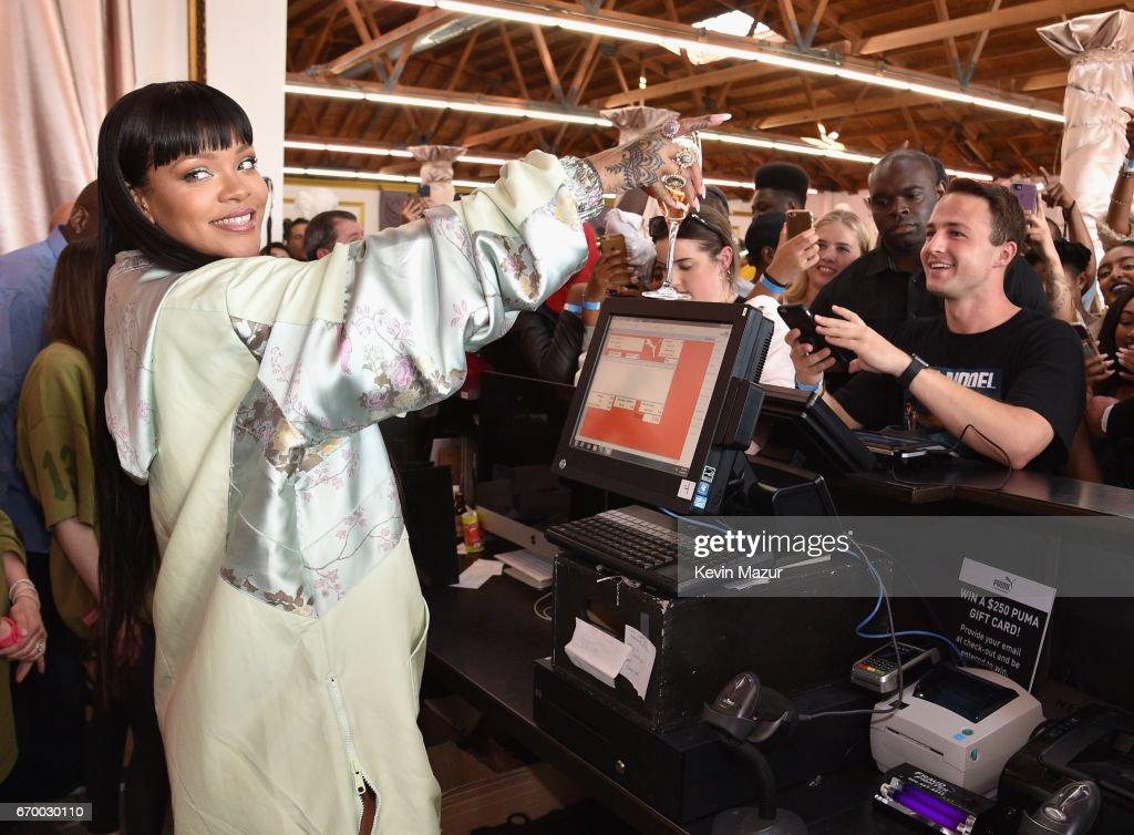 Rihanna at the FENTY PUMA by Rihanna Experience on April 18, 2017 in Los Angeles, California.
