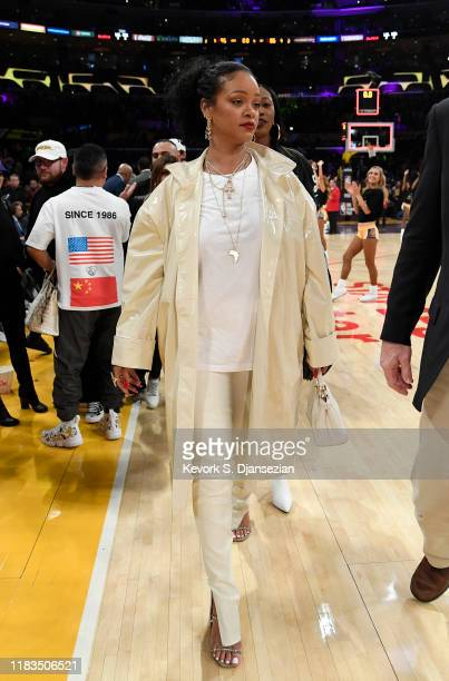 Rihanna attends a basketball game between the Los Angeles Lakers and the Utah Jazz at the at Staples Center on October 25, 2019 in Los Angeles,...