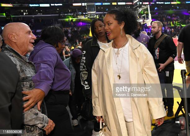 Rihanna attends a basketball game between the Los Angeles Lakers and the Utah Jazz at the at Staples Center on October 25 2019 in Los Angeles...