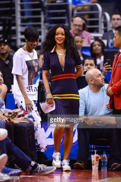 Rihanna attends a basketball game between the Oklahoma City Thunder and the Los Angeles Clippers at Staples Center on April 9 2014 in Los Angeles...