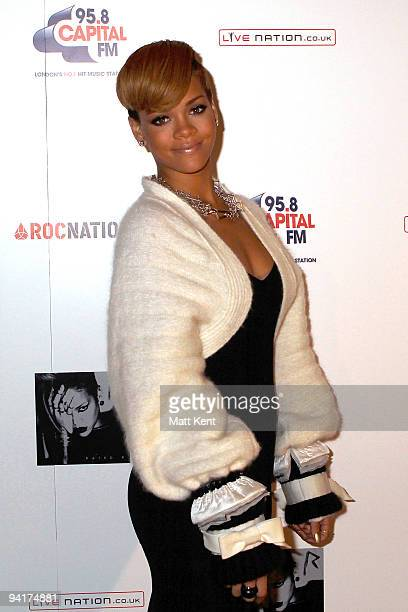 Rihanna attends a Q A photocall at Westfields to promote her 2010 UK tour on December 9 2009 in London England