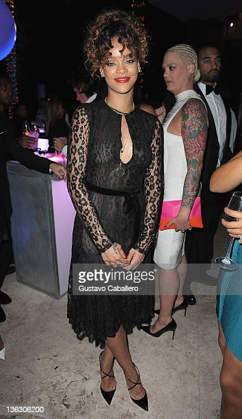 Rihanna attends as Sean Diddy Combs Hosts CIROC The New Year 2012 At Private Miami Estate on December 31 2011 in Miami Beach Florida