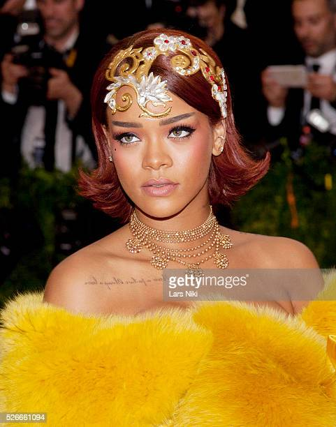 Rihanna attends 'China Through the Looking Glass' 2015 Costume Institute Benefit Gala red carpet arrivals at the Metropolitan Museum of Art in New...