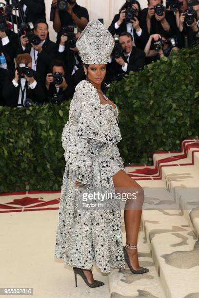 Rihanna attends Heavenly Bodies Fashion the Catholic Imagination the 2018 Costume Institute Benefit at Metropolitan Museum of Art on May 7 2018 in...