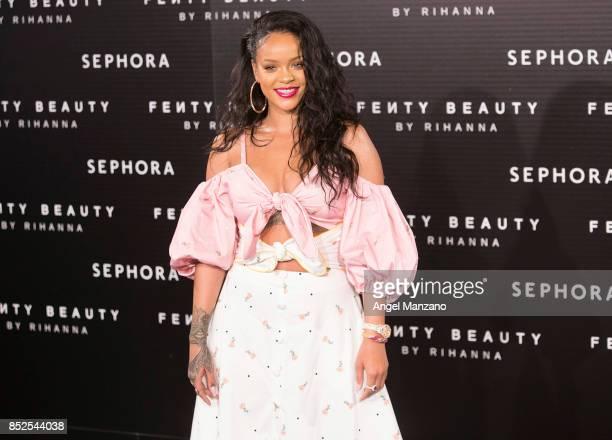 Rihanna attends Rihanna Fenty Beauty Presentation in Madrid on September 23 2017 in Madrid Spain