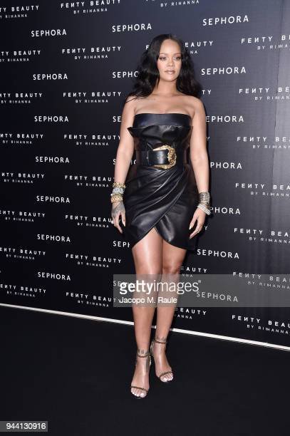 Rihanna attends Sephora loves Fenty Beauty by Rihanna launch event on April 5 2018 in Milan Italy